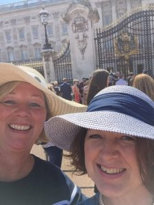 Clare Pound and Carol Morris at Buckingham Palace